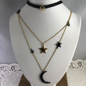 Jewelry - Moon and Star Signs Micro Crystals Gold Tone Dangl